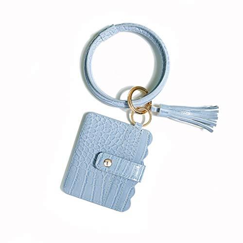 HBR Keychain Wristlet KeyChain Ring Bracelets Keychain Wristlet Bracelet and Card Pocket Circle Key for Women for Women Girls Gifts (Color : Blue)
