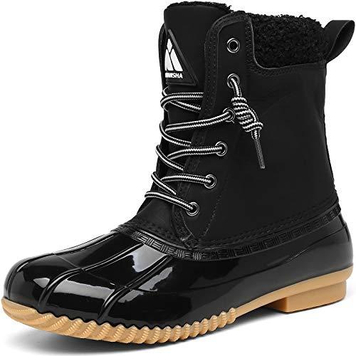 Mishansha Women's Duck Boots Waterproof Insulated Winter Snow Boots Cold Weather Rain Boots Warm Slip Resistant Walking Hiking Boot Black 11