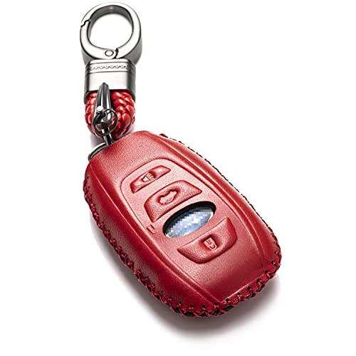 Vitodeco Leather Keyless Remote Smart Key Fob Case Cover with a Key Chain for 2019-2020 Subaru Forester, Impreza, Outback, WRX, BRZ, XV Crosstrek (4-Button, Red)