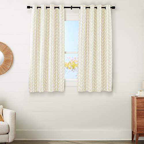 "Amazon Basics Room-Darkening Blackout Curtain Set with Grommets - 52"" x 63"", Beige Herringbone"