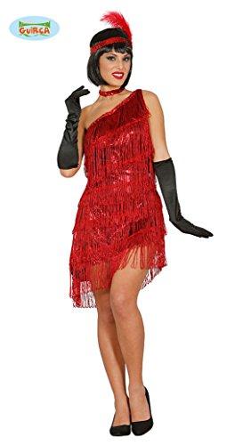 rotes Charleston Kleid Karneval 20er Jahre Party Kostüm Fransen Damen Gr. M/L, Größe:M