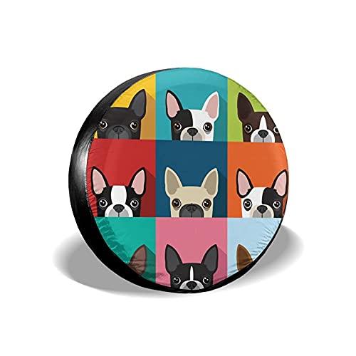 Cubierta Universal de Ruedas de Repuesto Funda Protectora Boston Terriers Impermeable para Remolques, Casas Rodantes, SUV y Otros 14'/15'/16'/17'