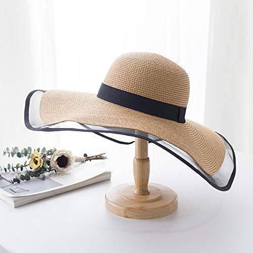 NJJX Sombrero De Paja De ala Ancha De 15 Cm, Sombreros De Playa De Encaje, Moda para Mujer, Verano, Protección UV, Gorra Plegable para Sombrilla, Sombrero para El Sol 55-58Cm