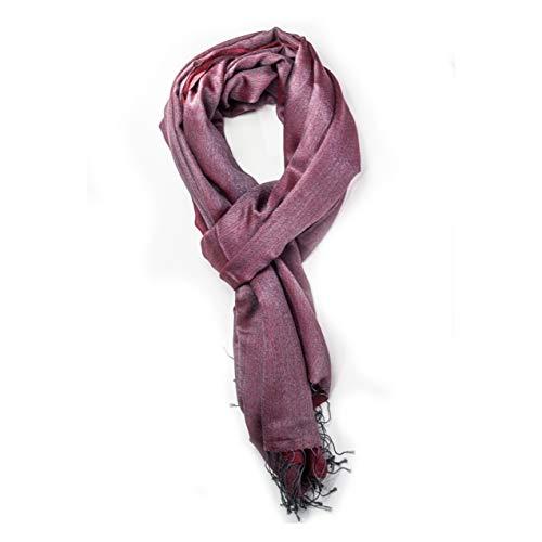 Générique Echarpe pashmina rouge et grise - 50% soie, 50% cachemire