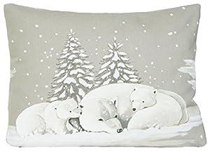 Weihnachten Kissenhüllen Eisbären Muster Winter Wunderland Kissenbezug Grau Zierkissen 40 x 30cm