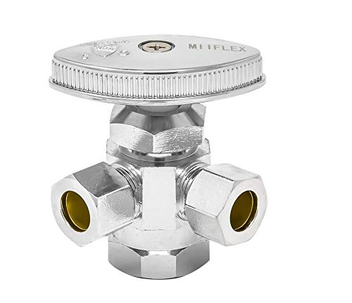 MIIFLEX 1/2 inch FIP(Inlet) x 3/8 inch OD(Outlet) x 3/8 inch OD(Outlet) Lead Free Multi Turn Dual Outlet Angle Stop, FIP x Comp. x Comp. (Click in for more size options)1/2'' FIP x 3/8'' OD x 3/8'' OD