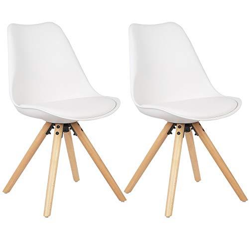 WOLTU® BH52ws-2 2 x Esszimmerstühle 2er Set Esszimmerstuhl mit Sitzfläche aus Kunstleder Design Stuhl Küchenstuhl Holz, Weiß