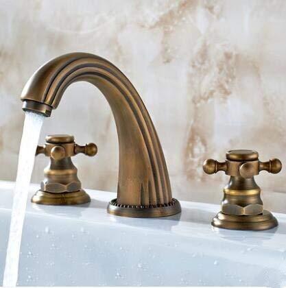 Grifo Ampliación de los grifos del lavabo Grifo del lavabo del baño de latón dorado 3 orificios Mezclador de lavabo de baño de 8 pulgadas Mango de cristal de lujo