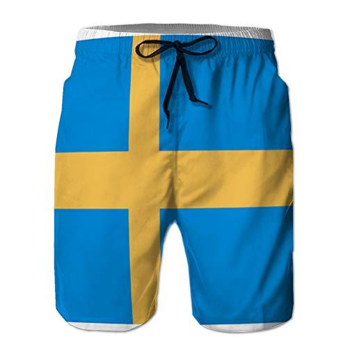 LJKHas232 Bañador Corto para Hombre de Secado rápido Bañador de Playa Bandera Sueca Corta XL