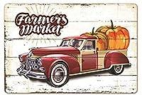 カボチャファーマーマーケットヴィンテージスタイルメタルサインアイアン絵画屋内 & 屋外ホームバーコーヒーキッチン壁の装飾 8 × 12 インチ