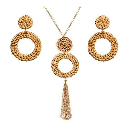 Long Necklaces for Women Handmade Rattan Pendant Necklace Earrings Set Boho Fringe Tassel Necklaces Statement Rattan Jewlery Set (Brown 2)