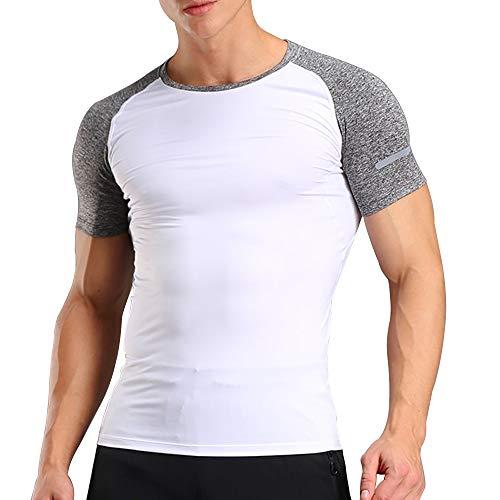 Uomo Bodybuilding Corto Manica Magliette Men Superiore Palestra Abbigliamento Sportivo Poliestere e Spandex