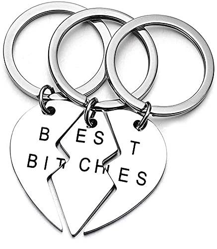 High Polished Stainless Steel Maching 3 Pieces Best Bitches Keychain or Necklace for Best Friends Sisters (Keychain)