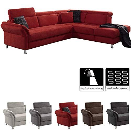 Cavadore Ecksofa Avagnoon mit Ottomane rechts, L-Form Sofa mit Kopfteilverstellung, 269 x 81 x 228, Flachgewebe rot