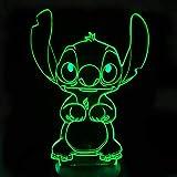 HYDYI Stitch Cartoon 3D Lámpara Dormitorio Mesa De Noche Luz Acrílico Panel Cable USB 7 Colores Cambiar Táctil Base De La Lámpara Regalo De Los Niños