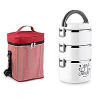 プレミアム弁当弁当と食器セット積み重ね可能な弁当ボックスステンレス製の弁当箱漏れ防止弁当箱お子様用と大人用の再利用可能な食事用準備容器 (白い, 2.4L)