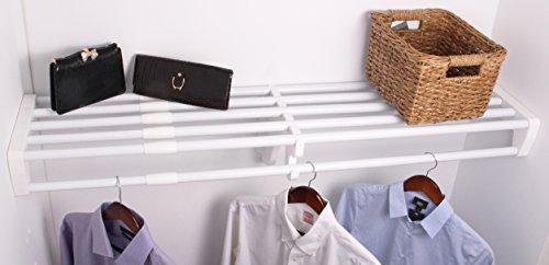 EZ Shelf Expandable Closet Shelf & Rod with No Brackets, 40'-73', White (EZS-SCRW72)