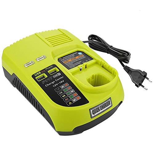 3A 12V 14.4V 18V Cargador de batería recargable para Ryobi P117 Paquete de batería Herramienta eléctrica Ni-Cd Ni-Mh Li-Ion - Verde