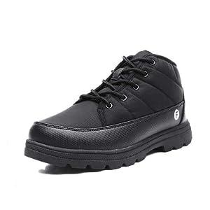 [EXEBLUE] スノーシューズ メンズ レディース スノーブーツ 長靴 防水 防寒 防滑の綿靴 冬用 雪靴 裏起毛 通勤 通学用 男女兼用 ブラック