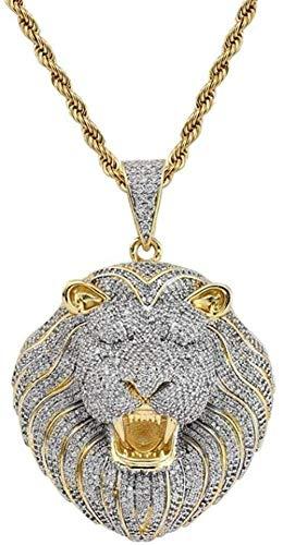 Mxdztu Co.,ltd Collar Hip Hop Iced out Lion Colgante Collar Chapado En Oro con Cadena De Cuerda para Hombres Mujeres