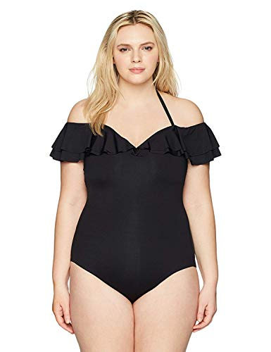 BECCA ETC Women's Plus Size Color Splash One Piece Swimsuit, Black, 2X
