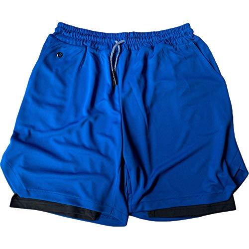 Pantalones Cortos Informales Deportivos de Dos Piezas Falsos a la Moda para Hombre Pantalones Cortos Deportivos de Secado rápido de Verano con Bolsillos XXL