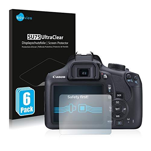 savvies Protector Pantalla Compatible con Canon EOS 1300D (6 Unidades) Pelicula Ultra Transparente