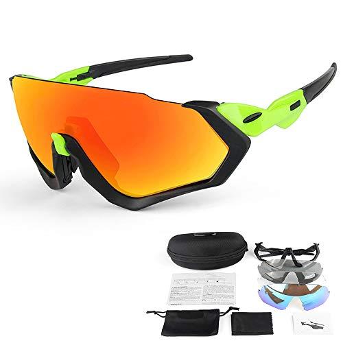 CWWHY Polarisierte Fahrradbrille, UV 400-Schutz-Skibrille Brille Photochromatische Brille Mit 3 Wechselgläsern Für Männer Frauen,C