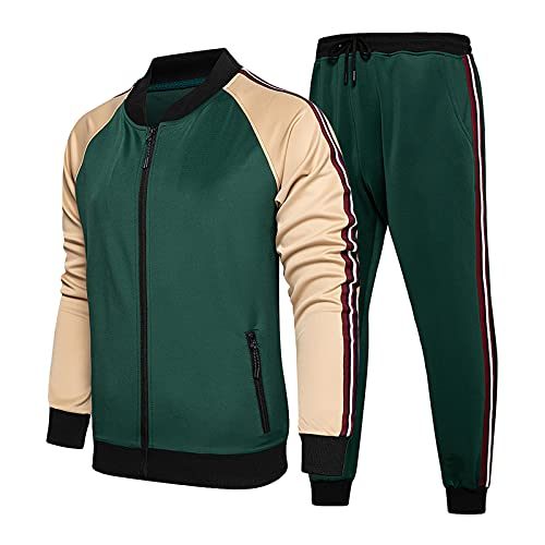 Men's Tracksuits 2 Piece Set Outfit Full Zip Jogging Sweatsuits Activewear Sport Suit Autumn Casual Outdoor Outfits