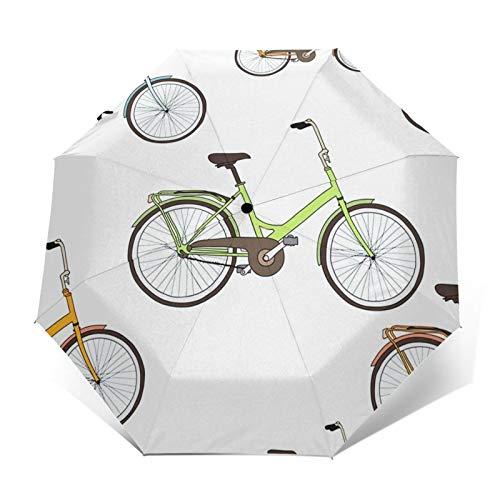 Paraguas Plegable Automático Impermeable Bicicleta Bicicletas Clásicas, Paraguas De Viaje Compacto a...