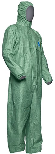 DuPont Tyvek 500 Xpert Chemikalienschutzkleidung mit Kapuze, KategorieII, Typ 5-B und 6-B Robust und Leicht Grün Größe L