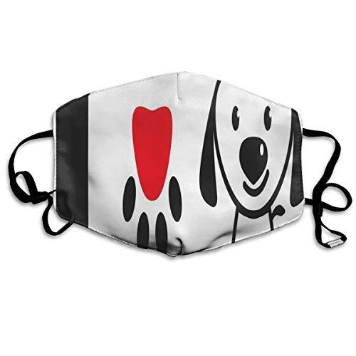 Staubschutzhülle,Gesichtsbedeckung,Gesichtsdekorationen,Mundschutz,Gesichtsschutzhülle Ich Liebe Hundebotschaft die Knochen-Welpen-Pfote mit Liebessymbol und niedlicher Hündchen-süßer Botschaft zeigt