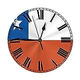 Xiaoxian Reloj de pared decorativo con número de reloj de bandera chilena y fácil de leer, para dorm...