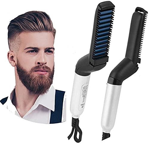 Didiz Electric Hair Straightener Brush, Men Quick Beard Straightener Styler Comb, Hair Straightening, Curly Hair Straightening Comb, Side Hair Detangling, Multi functional Hair Curling Curler