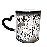 Oaieltj Tazas cambiantes de calor divertidas encantadoras alces personalizados sensibles al calor cambiante mágico taza de café de cerámica taza de té de leche