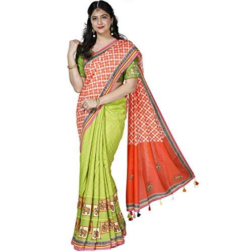 Kalanjali Women's Synthetic Print Whisper Saree (Orange)