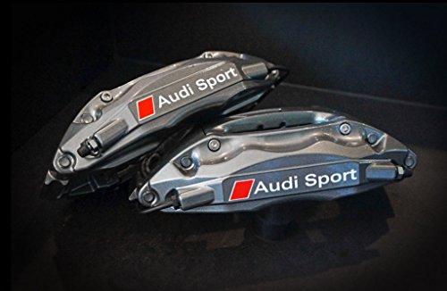 snstyling.com Aufkleber passend für Audi Bremssattel Aufkleber Audi Sport 4Stk. Satz 80mm + 70mm (Weiss – Rot)