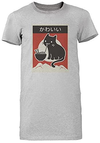 Clásico Estilo Gato Comiendo Ramen Camiseta De Las Mujeres Vestido Largo Manga Corta Gris T-Shirt Women Long Dress Grey tee S