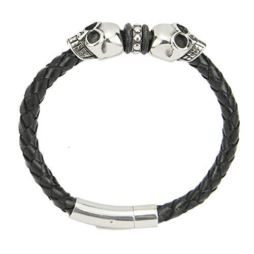 Gold77 Leder-Armband mit Totenkopf Skulls + Verschluss aus Edelstahl Herrenarmband, Länge:Armband 19cm