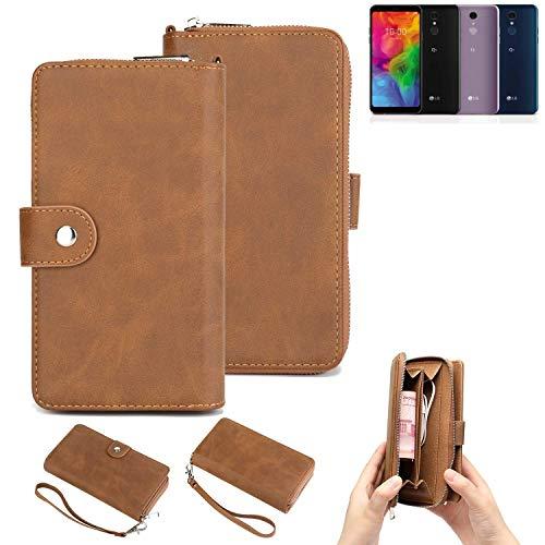 K-S-Trade® Handy-Schutz-Hülle Für LG Electronics Q7 Alfa Portemonnee Tasche Wallet-Case Bookstyle-Etui Braun (1x)