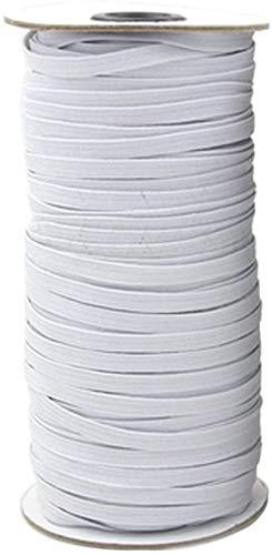 Gaorb Elastische 5/6/7 mm Polyester flat Black/White Elastic 110m Gevlochten Band for kleding Ondergoed Naaien Crafts DIY, sprei, manchet (Color : White, Size : 5MM/110M)