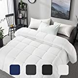MERITLIFE Premium Queen Size Comforter All Seasons 2100 Series Quilted Down Alternative Comforter Summer Lightweight Cooling Breathable Duvet Insert Corner Tabs Machine Washable (White Queen 88'x88')