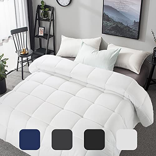 Premium Soft King Size Comforter All Seasons 2100 Series 350 GSM Lightweight Quilted Down Alternative White Comforter Breathable Bed Hotel Duvet Insert Cooling Summer (White, King (90'x102'))