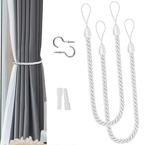NANAOUS Lot de 2 embrasses de rideaux dextérieur en corde de coton naturel fait à la main pour rideaux transparents et occultants (blanc)
