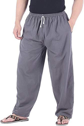 NOLLY 100% Baumwolle Casual Jogging Lounge Pyjama Yogahose Hose Elastische Taille Mit Kordelzug,Grey-XL