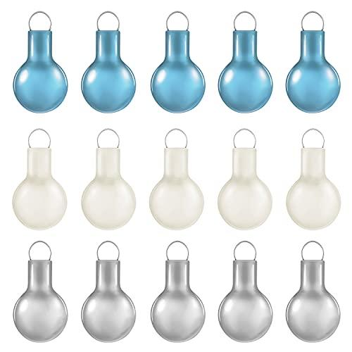Hallmark Keepsake Miniature Christmas Ornament 2021, Whimsical Blue, White and Silver, Mini Glass Set of 15