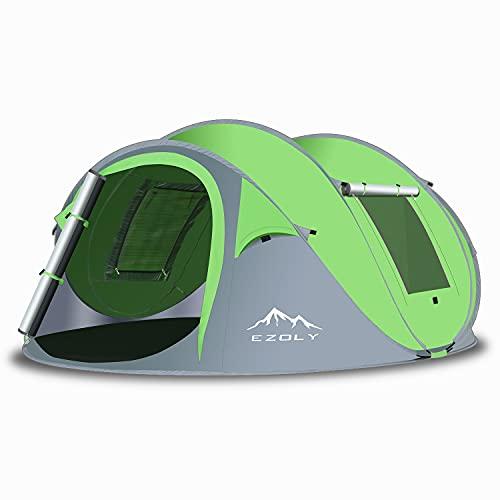 EZOLY Pop Up Zelt, Automatisches Zelte für Outdoor Camping Wurfzelt für 4 Personen Wasserdichtes Winddichtes, Anti-UV-Campingzelt für Familien, Grüne