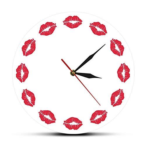 Reloj de Pared Labios Rojos Reloj de Pared Habitación para niñas Cronometrador Exclusivo Reloj de Pared silencioso Sweet Kiss Fine Art Reloj de Pared Minimalista Regalo para Ella