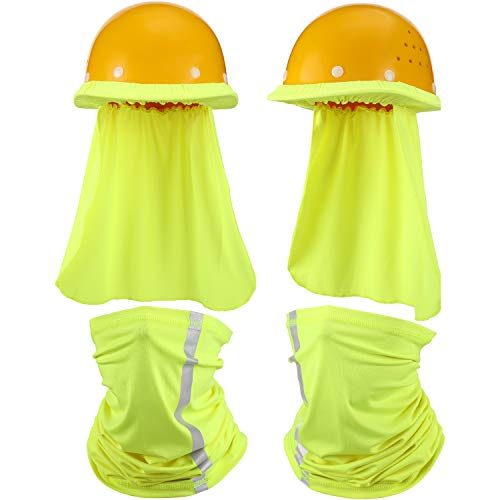 2 Pieces Hard Hat Sun Shade Neck Protection and 2 Pieces Visibility Reflective Neck Gaiters Sun Protection Balaclava Neck Scarf Bandana Headband for Fishing Hiking Cycling