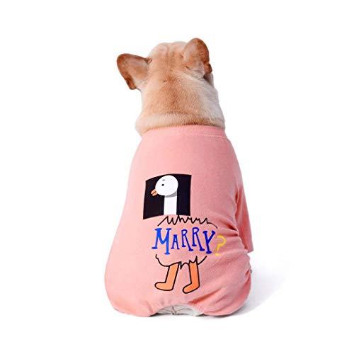 NashaFeiLi Haustier-Kleidung, vierbeiniger Jumpsuit aus Baumwolle, lässiger Schlafanzug für Französische Bulldogge, Welpen, kleine und mittelgroße Hunde